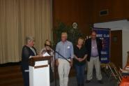 Secretary Joan VanArsdalen installing new members Wesley Wickham and Gail Robillard (l-r Joan Van Arsdalen, Jackie Wickham, Wesley Wickham, Gail Robillard, Bob Flynn)